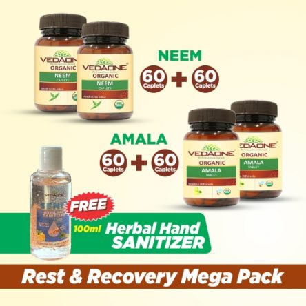 Rest & Recovery MegaPack: Neem & Amla (120 caplets each) + 100ml Herbal Hand Sanitizer FREE
